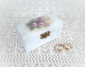 Proposal Trinket Jewelry Box Ring bearer Shabby chic Distressed White ( 4'' - 21/8'' -21/4)