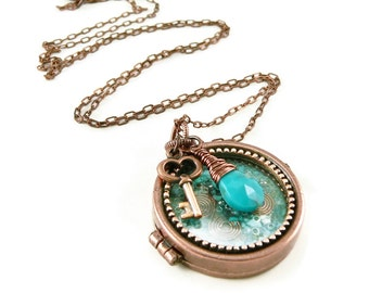 Orgone Energy Locket Necklace - Glass Front Copper Locket - Charm Necklace - Turquoise Gemstone - Artisan Jewelry