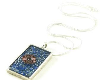 Orgone Energy Pendant - Antique Silver Rectangle w/Lapis Gemstone - Unisex Necklace - Men's Necklace - Energy Jewelry - Artisan Jewelry