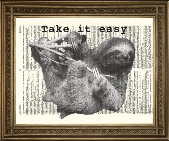 """FUNNY SLOTH ANIMAL: 'Take It Easy' Original New Dictionary Art Print, Antique Paper (size 8 x 10"""")"""