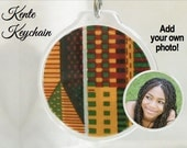 KENTE KEYCHAIN KIT - 2 sided - Customizable - Add Your Own Photo - Ready to assemble - Custom Qty. Available