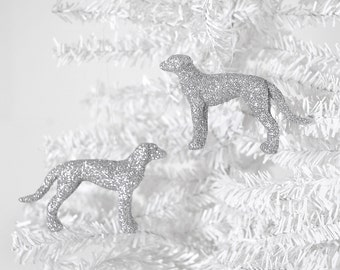 Greyhound Ornaments in Silver Glitter. Dog Lover Gift Set of 2 Home Decor, Birthday Party Favors or Decoration, Spring Wedding Favors