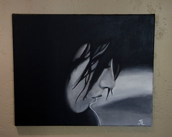 "Original Painting female Black and White 16""X20"""