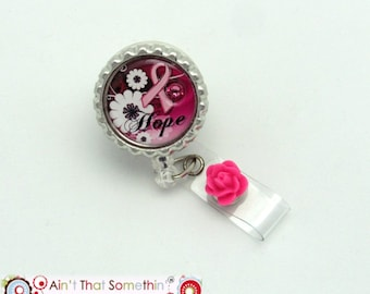 Hope for a Cure Breast Cancer Ribbon Retractable Badge Reel - Awareness ID Pull - Breast Cancer Badge Clip - Pink Ribbon ID Holder