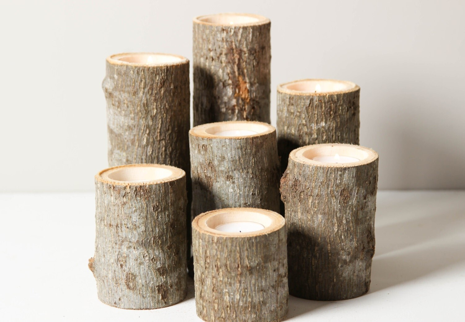 Tree branch candle holders set of rustic by worleyslighting