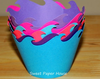 24 Mermaid Wave Cupcake Wrappers - Six Colors (Cardstock) (Summer, Spring, Party, Theme, Water, Pool, Shark, Fish, Whale, Dolphin, Frozen)