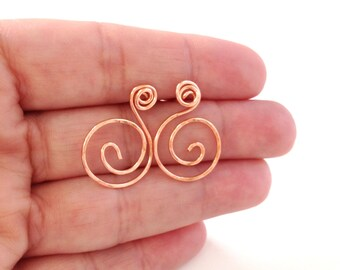 Copper Post Earring, Copper Wire Earrings, Hammered Copper Jewelry, Wire Work Designs, Metalwork Earrings, Spirals and Curlicues, Cute, Cool