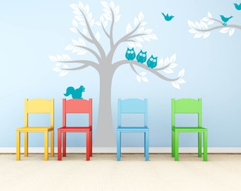 Children's tree decal - Owl tree - Nursery wall decal - Owl tree - Vinyl wall decal