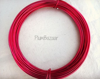 Jewelry and craft wire, 12 gauge 2mm round aluminum wire, ruby red color