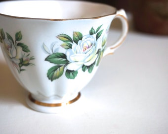 English Tea Cup with White Roses Made in England by Colclough - Floyd Jones Vintage