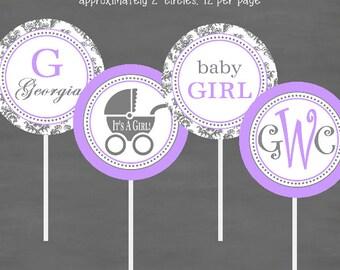 Purple Gray Damask Baby Shower Cupcake Toppers--Custom Printable