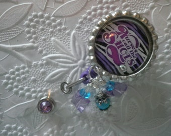 "Nurses Call the Shots - Professional Retractable ID Badge Reel With ""Nurses Call the Shots"" on a Bottle Cap With Decorative Beads"