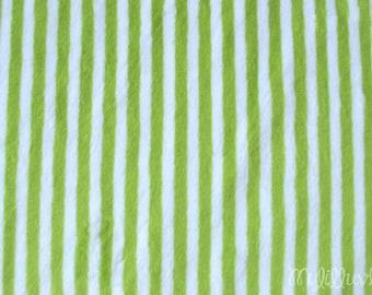 Minky fabric by the yard- Jade green and snow white mini stripe minky fabric- mini stripe cuddle one yard