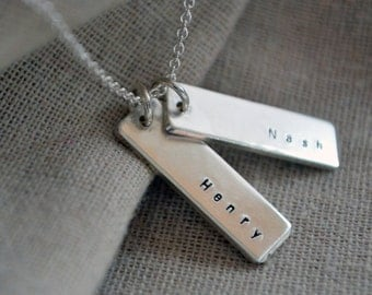 Sterling Double Sided Name Necklace - Stamped Necklace - Mommy Necklace - Mother's Day Gift