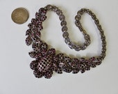 Vintage Unsigned Amethyst / silvertone   necklace/ wedding jewelry/ Choker