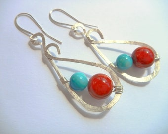 Red and turquoise hammered silver hoops