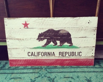 Reclaimed Hand Painted Wood California flag