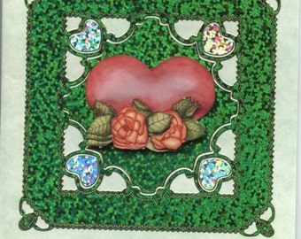 Greetings card with heart and roses design