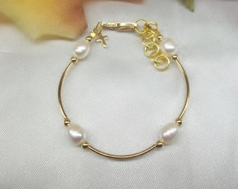 Gold Cross Bracelet Baby Bracelet White Pearl Bracelet Girls Bracelet 14k Gold Filled Bracelet Adjustable Bracelet BuyAny3+Get1 Free