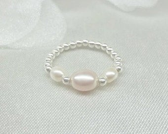Baby Ring Toddler Ring Girls Ring Pink & White Pearl Ring Stretch Stretchy Ring 925 Sterling Silver Baby Gift Baby Jewelry BuyAny3+Get1 Free