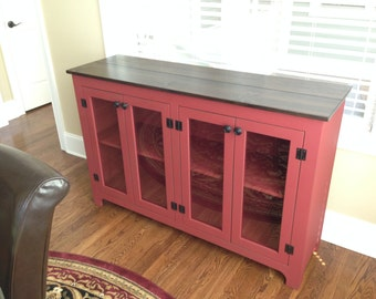 Painted Buffet, Red Sideboard, Large Buffet, Credenza