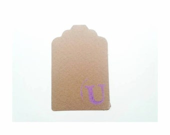 Initial Tag - Letter U - U - Cardboard tags - Set of 40 Tags - Cardboard - Package