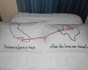 Long Distance Love Quote, Connecting Hearts Between States, Bedroom Decor, Couples Gift Ideas