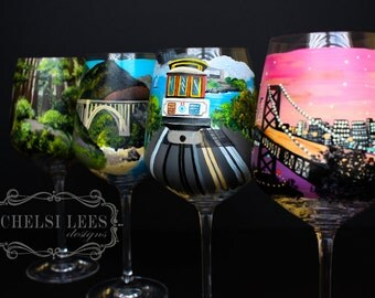 San Francisco, California - CA- Hand Painted Wine Glass - Set of 4