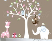 Childrens white tree decal wall vinyl decal for girls, girls room decor, girls wall decals, girl wall art decal, decals for girls