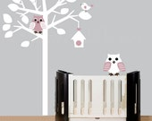Childrens wall decals white nursery tree wall decal with owls and birds - 0323
