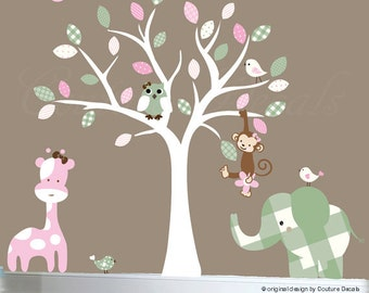 Childrens wall decor white nursery wall tree owl decal patterned decal leaves - 0069