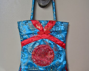 Asian Silk Purse Vintage Tote Bright Turquoise and Red Brocade Zipper Bag 100% Pure Silk Made in China Bold Colorful Never Used