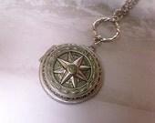 Compass Locket Necklace - True North Locket - Necklace Art Pendant - Compass Pendant - Directional - Long Necklace