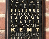 Antiqued Finish Cities of Washington Subway Scroll Vintage Style Wall Plaque / Sign