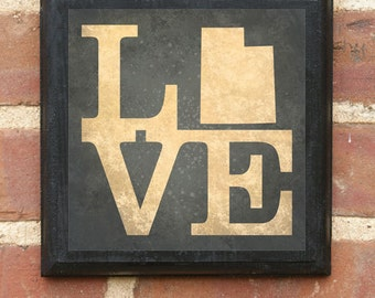 Utah UT LOVE Wall Art Sign Plaque Gift Present Personalized Color Custom Home Decor Vintage Style Provo Salt Lake Ogden Logan Provo Classic