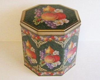 Vintage Large Octagon Tin - Fruit Design
