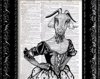 Mad Momma Goat -  Goat Humor Farm Animal Print -Vintage Dictionary Print Vintage Book Print Page Art Upcycled Vintage Book Art