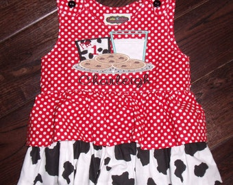 Boutique Cookies with Milk Glass Birthday Red dot and Cow Print Ruffle Dress Sizes 6M to 5T