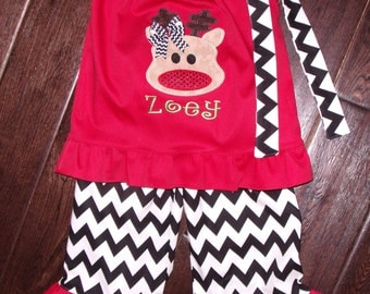 Boutique Christmas Reindeer Pillowcase Shirt and Chevron Ruffle Pant Sizes 3M to 8 youth