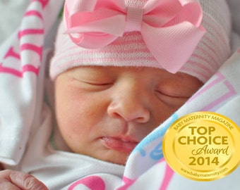 newborn hat with bow - Light Pink (newborn hospital hat, her first bow, newborn beanie, newborn hat with bow) READY TO SHIP