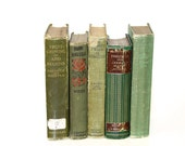 Shabby Chic Green Book Collection Decorative Home Wedding props Vintage Reading TREASURY ITEM