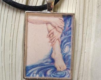 "C'mon In! The Water's Fine - 1""x1.5"" Art Pendant by Patricia Robin Woodruff"