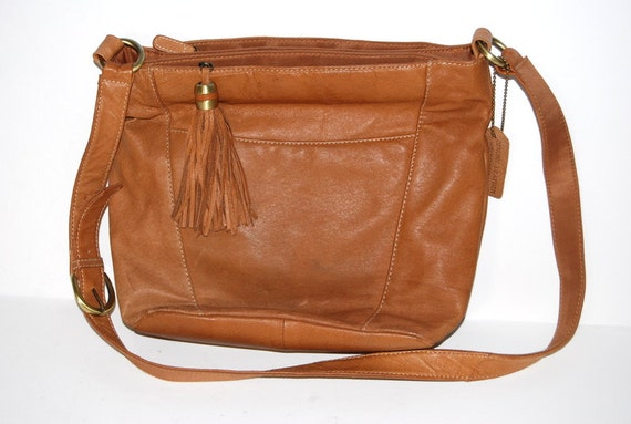 80s Vintage Honey Tan Leather Purse By Cabin Creek Gift For