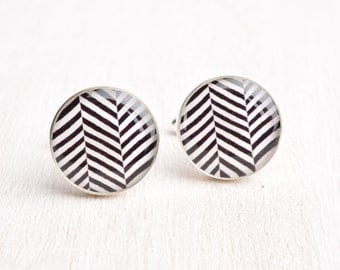 Modern Herringbone Pattern Cufflinks - Stainless Steel Black and White Cuff Links