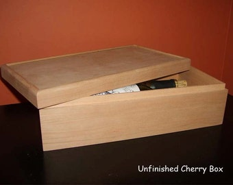 Unfinished Wood Wine Box with lift off lid- holds 2 bottle of wine