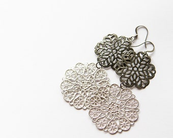 Silver and Gun Metal Filigree Dangles