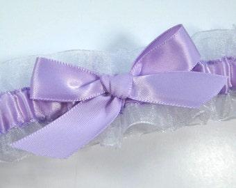 Purple and White Bridal Garter, Lavender garter, Radiant Orchid wedding garter