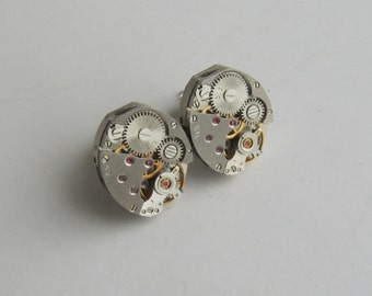 Steampunk Stud earrings with small lightweight watch movements Gift for Her Gift for Him Birthday gift ideas Ear Studs Posts Industrial