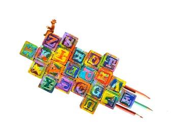 Ready for Takeoff mixed media assemblage art impasto alphabet blocks, writers block, original art by Elizabeth Rosen