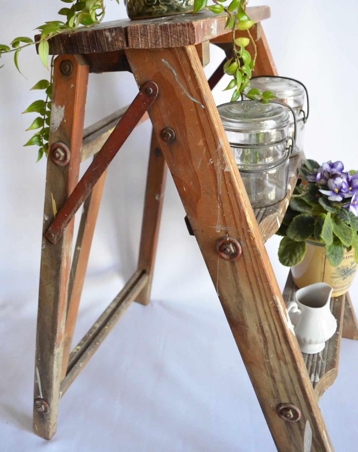 Vintage 1940 S Small Wood Folding Ladder Shelf Plant